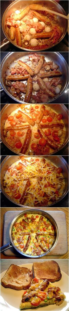 One Pan Breakfast Recipe...This is Sunday morning breakfast right here! Yummy but more of a pain then it seemed. Next time, more veggies, less meat.