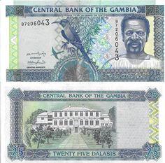 GAMBIA - CÉDULA DE 25 DALASIS ANO 2001 - PEÇA EM ESTADO DE CONSERVAÇÃO FLÔR DE ESTAMPA !