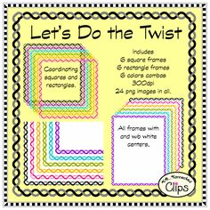 Woohoo!!! 50% off for the first 48 hrs! Let's Do the Twist Frame Collection $ http://www.teacherspayteachers.com/Product/Lets-Do-the-Twist-Frame-Collection-1254407