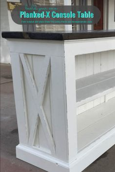 Build a Farmhouse Style TV Console/Sideboard - DIY Planked X Console, Free Building Plans, By The Gritty Porch Featured On Remodelaholic - Do It Yourself Furniture, Diy Furniture Plans, Farmhouse Furniture, Furniture Projects, Wood Furniture, Tv Stand Decor, Diy Tv Stand, Woodworking Tools For Sale, Woodworking Plans