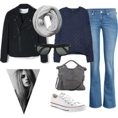 Autumn by hanna-tisater on Polyvore featuring MANGO, H&M, Converse, Pietro Alessandro, Pieces and Ray-Ban
