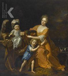 Hendrik van Limborch - Familieportret van een moeder met twee kinderen en een bediende