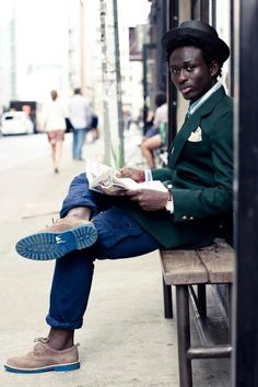 #Gentleman with blue soled oxfords and Green #Sportscoat