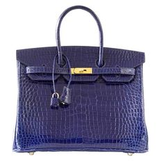 be5d1b88578c HERMES BIRKIN 35 Bag Blue Sapphire Porosus Crocodile Gold Hardware