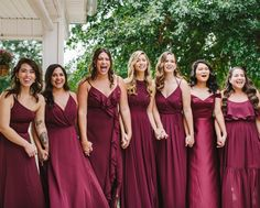 Beautiful in burgundy! Dress you maids in matching burgundy dress while mixing styles for a modern touch! | #bridesmaiddresses #burgundybridesmaiddresses #winebridesmaiddresses | Style F20099, F20064, DS270094, F19755, F20134, VW360527 | Shop these styles and more at davidsbridal.com | Photo by: @jamie.devergillo Ruby Wedding, Burgundy Wedding, Wine Bridesmaid Dresses, Wedding Dresses, Burgundy Dress, Davids Bridal, Bridal Style, Wedding Planning, Neckline
