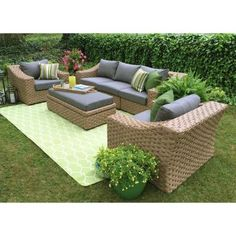 AE Outdoor Catalina 4-Piece All-Weather Wicker Patio Deep Seating Set with Sunbrella Fabric-DPS200210 - The Home Depot