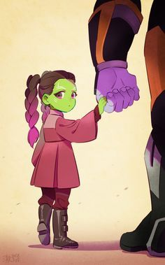 """am I the only one who thinks young gamora is cute?"""" Young Gamora and Thanos fan art by 澈(Che) Avengers: Infinity War Guardians of the Galaxy """" Marvel Dc Comics, Heros Comics, Marvel Fan Art, Marvel Memes, Loki Fan Art, Marvel Tumblr, Funny Comics, Thanos Avengers, The Avengers"""