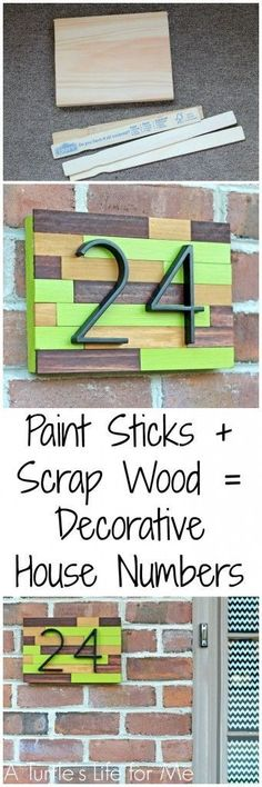 Paint Stick and Scrap wood make a cheap and easy way to add some curb appeal to your front door!! Customize the colors to fit your house!
