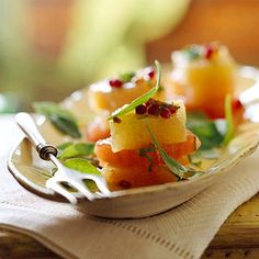 If pomegranate seeds are not available, sprinkle this side salad with snipped dried cranberries or cherries. Easy Salad Recipes, Easy Salads, Summer Salads, Great Recipes, Easy Meals, Favorite Recipes, Healthy Recipes, Salad Bar, Side Salad