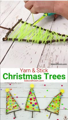 Christmas Family Feud, Stick Christmas Tree, Christmas Arts And Crafts, Christmas Fun, Christmas Crafts For Children, Natural Christmas Tree, Christmas Decorations With Kids, Christmas Crafts For Kindergarteners, Kindergarten Christmas Crafts