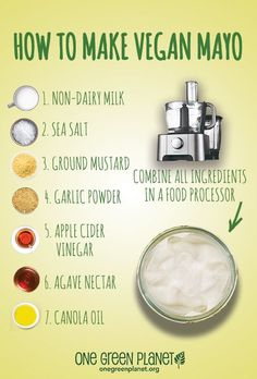 Homemade Vegan Mayo By making your own mayo you can control exactly what goes in it. Oh, and it's way cheaper than buying vegan mayo or eve. Vegan Sauces, Vegan Foods, Vegan Dishes, Vegan Meals, Vegan Junk Food, Vegan Desserts, Vegan Cru, Roh Vegan, Vegetarian Recipes
