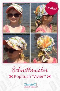 """Free pattern for a headscarf """"VIVIEN"""". Detailed description of how to make the headscarf yourself. Step by step, everything is explained to you – absolutely beginner-friendly. Baby Girl Hairstyles, Headband Hairstyles, Diy Hairstyles, Toddler Hairstyles, Natural Hairstyles, Baby Dress Patterns, Sewing Patterns For Kids, Baby Turban, Baby Tie"""
