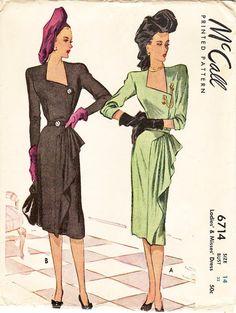 SZ 14/Bust 32  Vintage 1940s Dress Pattern  by ThePatternSource