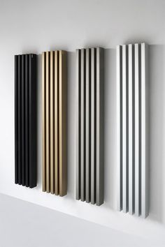 Vertical wall-mounted decorative radiator SOHO BATHROOM By Tubes Radiatori design Ludovica+Roberto Palomba Home Room Design, Home Interior Design, Living Room Designs, House Design, Tv Wall Design, Door Design, Decorative Radiators, Vertical Radiators, Slat Wall