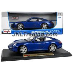 "Maisto Special Edition Series 1:18 Scale Die Cast Car Set - Navy Blue High Performance Sports Car PORSCHE 911 CARRERA S with Base (Dim: 9"" x 4"" x 3"")"