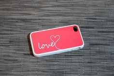 Coral and White Love Monogram iPhone Case - Available for the 4/4s & 5 - spring, turquoise, kids, geekery. $22.50, via Etsy.