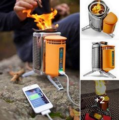 Biolite camp stove. Burns sticks, pine cones, etc- no fossil fuel. Excess heat charges your electronics.