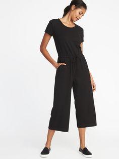 42937159336 Waist-Defined Wide-Leg Bouclé-Jersey Jumpsuit for Women