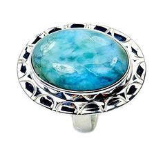 Amazing Sterling Silver Rare Genuine Dominican Larimar Ring, Size 6.75