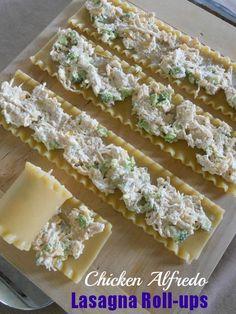 Chicken Alfredo Lasagna Roll-ups - a great freezer swap meal!