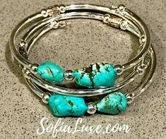 One of our beautiful #handmade #bracelets from #sofialuxe made with #stainlesssteel, #pewter #beads and natural stabilized #turquoise stones. Now available on #Amazon for only $23.99! #bracelet #jewelry #bangle #cuff #womensjewelry #memorywire