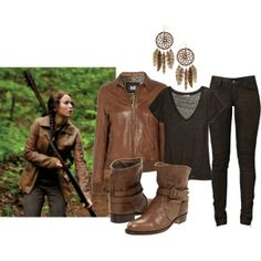 Hunger Games Fashion - Katniss Everdeen. Want Katniss look? Weve put together an ensemble inspired by her rugged District 12 wear! Created by hollywoodplayer on Polyvore