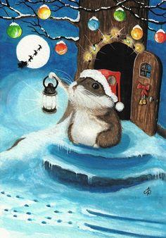 """""""Hamster and the Sleigh Santa"""" par AmyLyn Bihrle"""