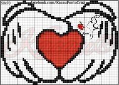 Cross Stitch Heart, Cross Stitch Alphabet, Simple Cross Stitch, Perler Patterns, Loom Patterns, Graph Paper Drawings, Disney Cross Stitch Patterns, Crochet Disney, Anime Pixel Art
