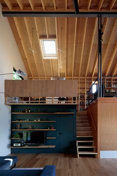 This Japanese cabin design features an open plan that allows for family connection, large picture windows that frame the landscape, as well as a serene spot dedicated to worship. A Frame Cabin, A Frame House, Cabin Design, Tiny House Design, Japanese Countryside, Japan Interior, Loft Stairs, Concept Home, Architecture
