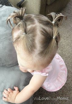 30 Toddler Hairstyles-great for older girls with fly away hair. And actually great ideas! #WedgeHairstylesMom