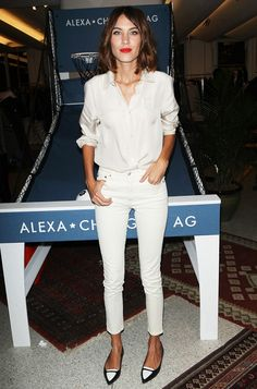 Classic Monochromatic Style- White button down, cropped white skinnies, and black & white flats. | via @whowhatwear