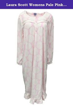 Laura Scott Womens Pale Pink Floral Fleece Nightgown Plush Night Gown 2X.  This pretty pink 48057fb62