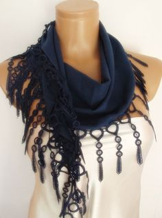 New Design Pashmina scarf with lace Prussian blue by smilingpoet, $18.90