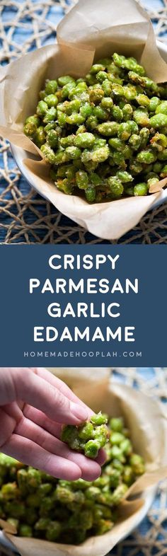 Crispy Parmesan Garlic Edamame! Baked in the oven, this edamame recipe is a tasty snack with only 123 calories!   HomemadeHooplah.com