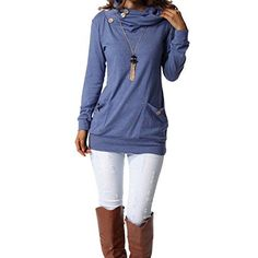 Women's Tunics - levaca Womens Long Sleeve Button Cowl Neck Casual Slim Tunic Tops with Pockets at Women's Clothing store: Shirts & Tops, Women's Tops, Long Tops, Tees, Tunic Shirt, Tunic Tops, Tunic Sweater, Chemise Fashion, Dress Fashion