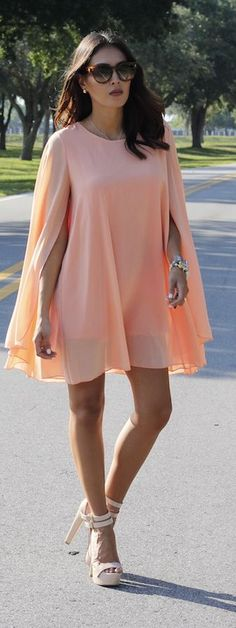 Peach Cape Dress. Summer elegant women fashion outfit clothing style apparel @roressclothes closet ideas