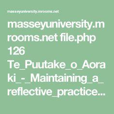 masseyuniversity.mrooms.net file.php 126 Te_Puutake_o_Aoraki_-_Maintaining_a_reflective_practice_portfolio.pdf Reflective Teaching, Reflective Practice, Assistive Technology, Culture, Writing, Education, Reading, Portfolio Pdf, Brown