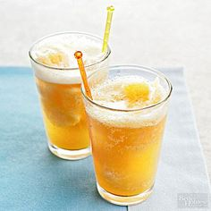 The peach mixture for this refreshing drink recipe can be placed in the freezer and served at the spur of the moment when unexpected guests arrive. /
