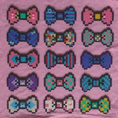 Colorful Hama Bead Bows by obscurepastels