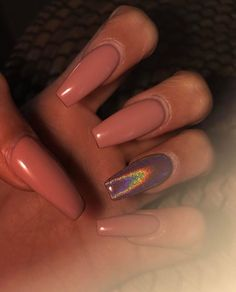 Mauve pink and Iridescent nails