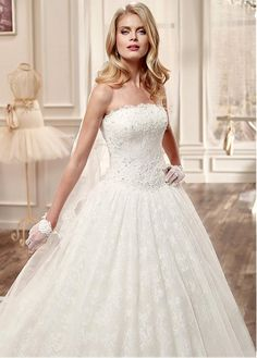 Gorgeous Lace & Tulle Strapless Neckline Ball Gown Wedding Dresses with…