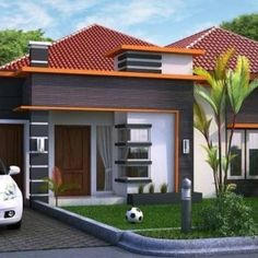 Family House Plans, Dream House Plans, Small House Plans, Modern Bungalow House Design, Modern Minimalist House, House Blueprints, Exterior House Colors, Facade House, Simple House