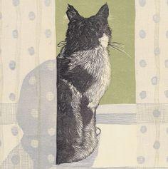 'Cat On A Windowsill' by Printmaker Vanessa Lubach. Blank Art Cards From Green Pebble. www.greenpebble.co.uk