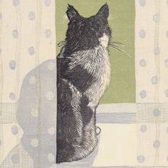 'Cat On A Windowsill' by Vanessa Lubach - Blank Art Cards From Green Pebble