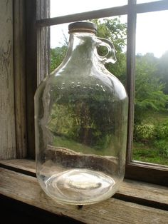 Antique One Gallon Glass Hard Cider Moonshine Jug... Yard sale find today!! :)
