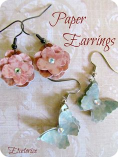 Using scrapbook paper to make pretty earrings~    Etcetorize