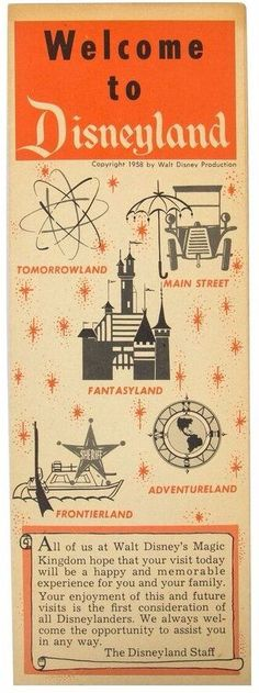 Welcome To Disneyland Gate Folder 1958