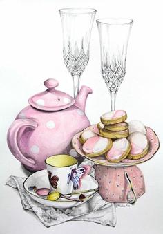 Alexandra Nea Graham - afternoon tea illustration