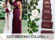 Burgundy is a very beautiful wedding color for your big day. You can add a sort of this kind of dark red into any element of your wedding, sush as burgundy cake, burgundy bridesmaid dress, burgundy centerpieces and so...