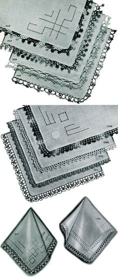 Handkerchief Edgings | Free Crochet Patterns -- small tatted and crocheted edgings